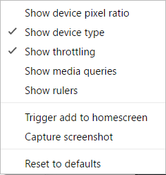 Device Toolbar Option