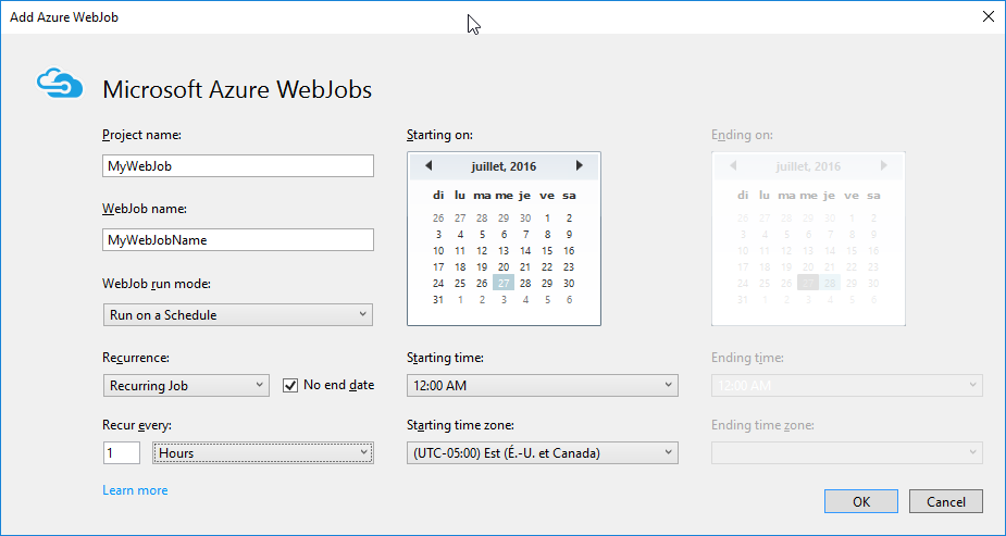 New Azure WebJobProject
